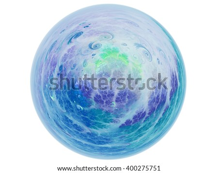 Abstract fractal neptune planet, digital artwork for creative graphic design - stock photo