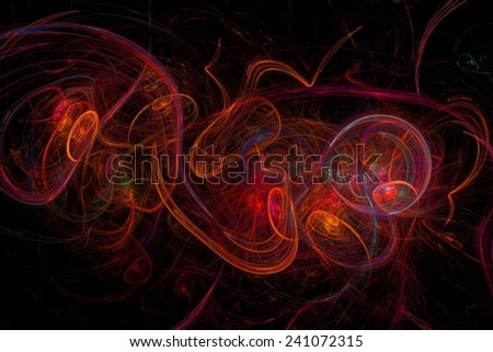 Abstract fractal on black background with vibrant colors. - stock photo