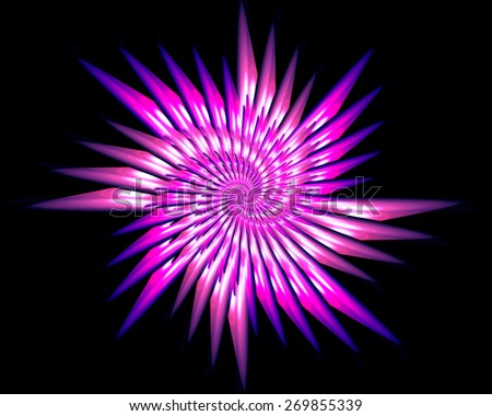 Abstract fractal pattern in the shape of a flower, star - stock photo