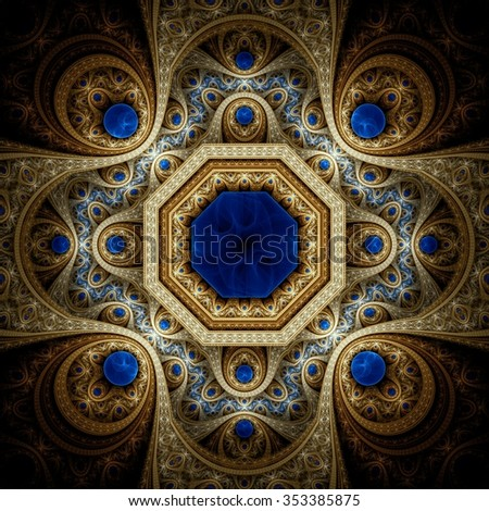 Abstract fractal pattern, mystical symmetric royal gold background with blue diamonds. Interesting creative graphic design. - stock photo