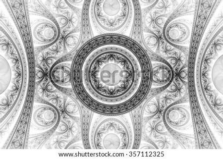 Abstract fractal pattern, symmetric royal background with diamonds. Creative graphic design. Black and white illustration. - stock photo