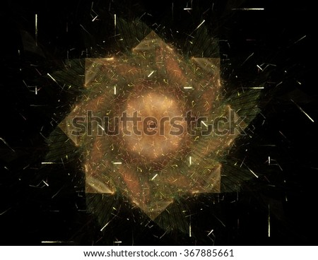 Abstract fractal patterns and shapes. Digital artwork for creative graphic design. Symmetric fractal icon on background. Colorful illustration.