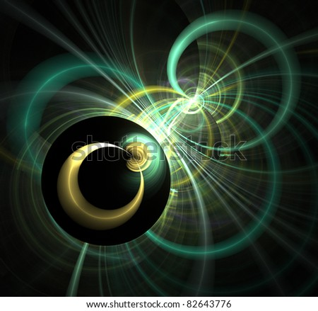 abstract fractal rendering of 2 and 3D circles - stock photo