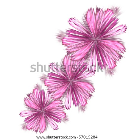 abstract fractal rendering resembling spring flowers - stock photo