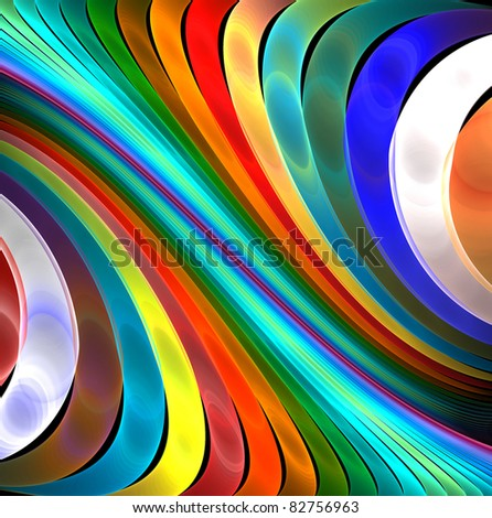 abstract fractal rendering soft rainbow lines - stock photo