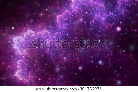 Abstract fractal, sparkling violet cosmic pattern with soft blur on dark background