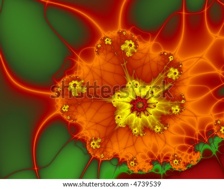abstract fractal spiral in harvest colors - stock photo