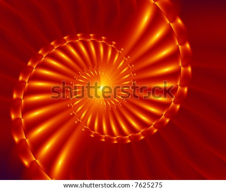 Abstract fractal spiral in shiny gold and orange. - stock photo