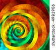 Abstract fractal spiral in vivid rainbow colors. - stock photo