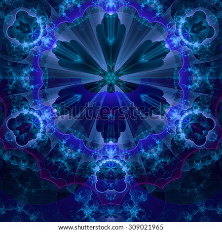 Abstract fractal star flower tower background with a detailed decorative pattern of petals connected by a wavy ring, all in glowing blue,pink,green - stock photo