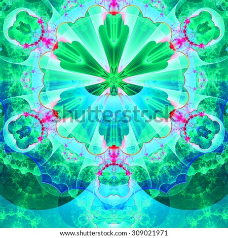 Abstract fractal star flower tower background with a detailed decorative pattern of petals connected by a wavy ring, all in bright vivid glowing cyan,green,pink - stock photo