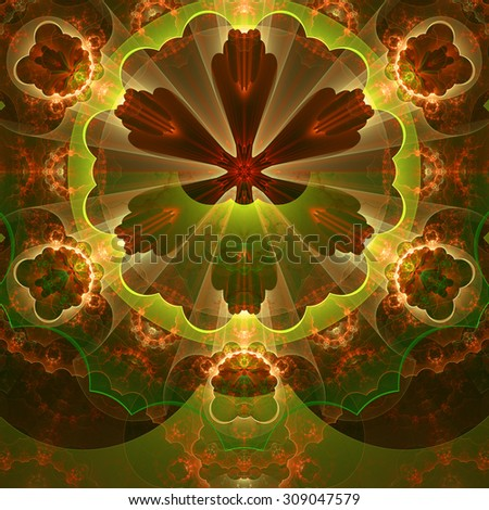 Abstract fractal star flower tower background with a detailed decorative pattern of petals connected by a wavy ring, all in glowing yellow,green,red - stock photo