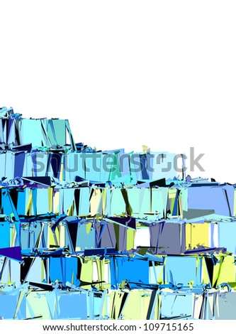 abstract fragmented pattern in blue yellow green on white - stock photo