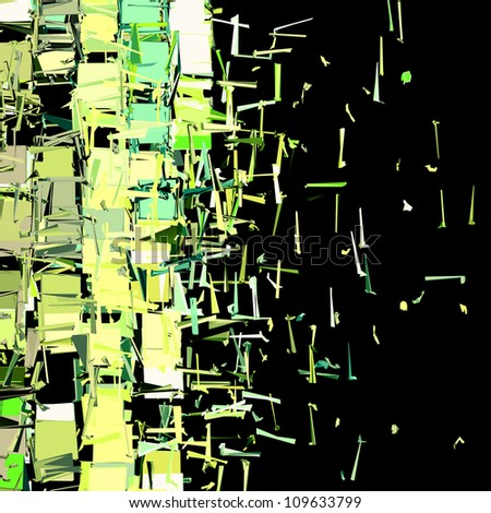 abstract fragmented plane pattern green yellow backdrop - stock photo