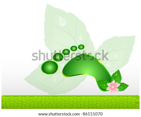 Abstract frame with green mosaic panel and the human footprint - stock photo