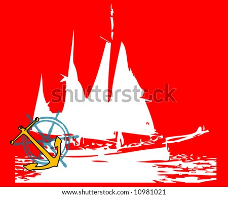 Abstract frame with old vessel shape, yellow anchor and blue steering wheel - stock photo