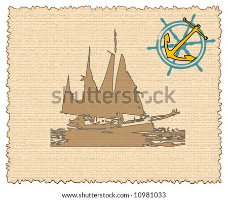 Abstract frame with vessel shape, anchor and ship steering wheel - stock photo