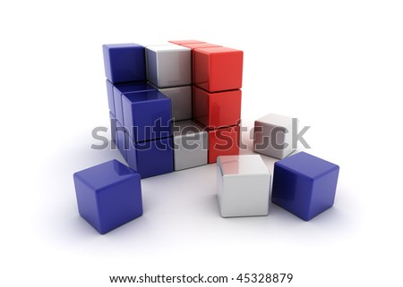 Abstract French flag concept over white background
