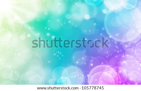 abstract fresh color background with cycle bokeh lights and stars - stock photo