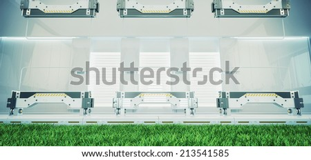 Abstract fresh room / Futuristic interior with green grass and three abstract transparent huge screens - stock photo