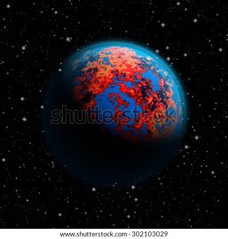 Abstract future planet Earth with blue atmosphere and burning red continents. Full HD video also available.  - stock photo