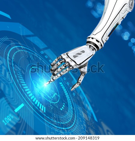 abstract futuristic background sci-fi robot hand working circuit board on virtual interface - stock photo