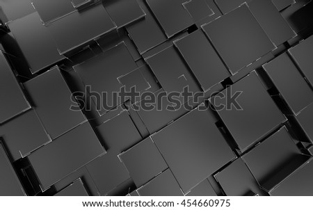 Abstract futuristic background with black cubes and lines, 3D illustration.