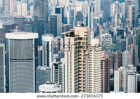 Abstract futuristic cityscape with modern skyscrapers. Hong Kong aerial view panorama - stock photo