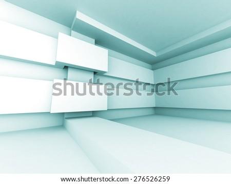 Abstract Futuristic Design Architecture Interior Background. Empty White Room - stock photo