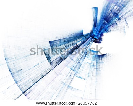 Abstract futuristic design. Blue, green and red versions on white and black backgrounds available. - stock photo