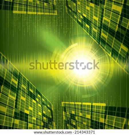 Abstract futuristic green bright background illustration  - stock photo