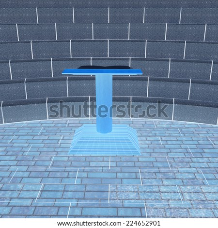 Abstract futuristic interior. Brick scene with cathedra and tribune.  - stock photo