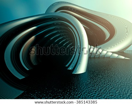Abstract Futuristic Metal Background Wallpaper. 3d Render Illustration - stock photo