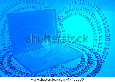 Abstract futuristic render. Numbers located on a circle around a laptop