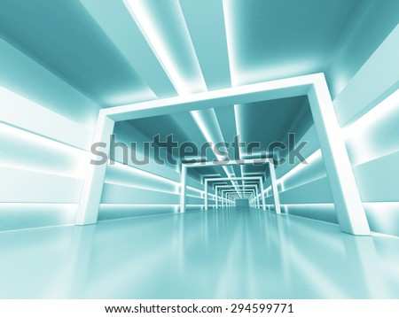 Abstract Futuristic Shiny Light Architecture Background. 3d Render Illustration - stock photo