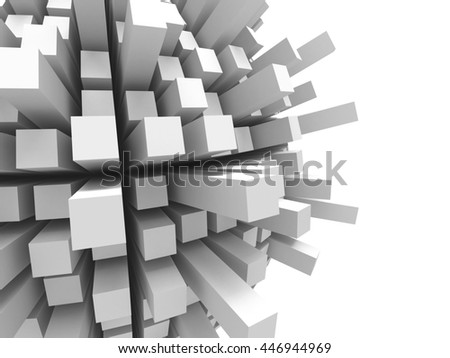 Abstract futuristic white cubes background. 3d render illustration