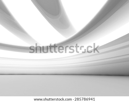 Abstract Futuristic White Geometric Background. 3d Render Illustration - stock photo