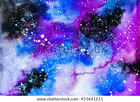 Abstract galaxy colorful watercolor hand paint for textures, design art work, skin product or text and backgrounds.