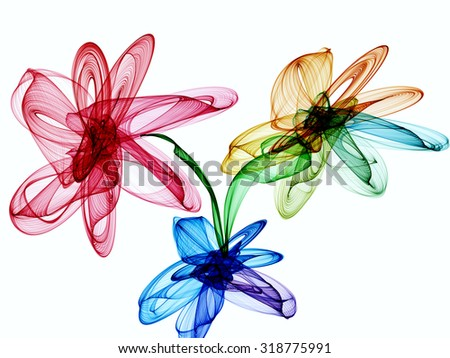 Abstract generated colorful flowers over white background - stock photo
