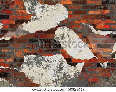 Abstract generated old brick wall with broken plaster and cement