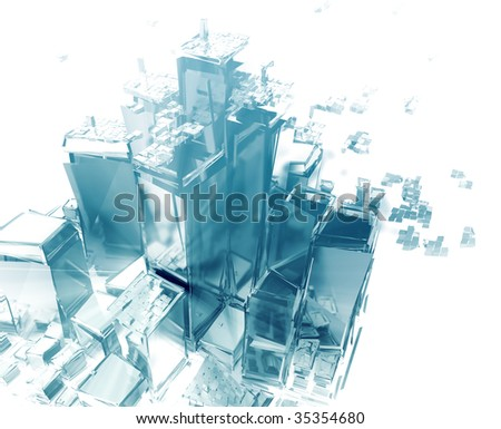 Abstract generic city with exploding breaking apart illustration - stock photo