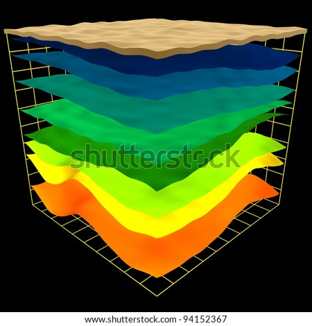abstract geology layers scheme, 3d render isolated on black - stock photo