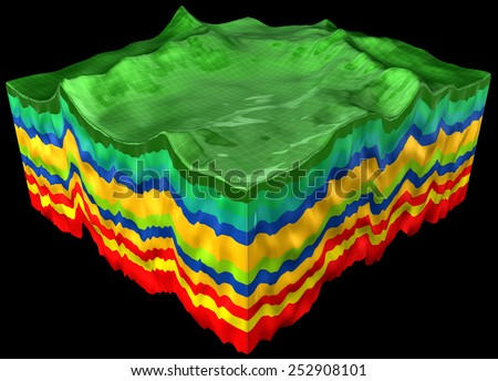 abstract geology ?ut,  layers scheme, 3d render isolated on black - stock photo