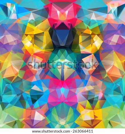 Abstract geometric background. Multicolored triangles. Beautiful inscription. Triangle background with bright lines. Pattern of crystal geometric shapes. Multicolor mosaic banner. Raster version - stock photo