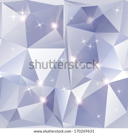 Abstract geometric background of sparkling blue triangles. - stock photo