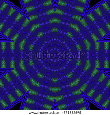 Abstract geometric background, seamless circles pattern purple, green and black with rays, ornate and luscious