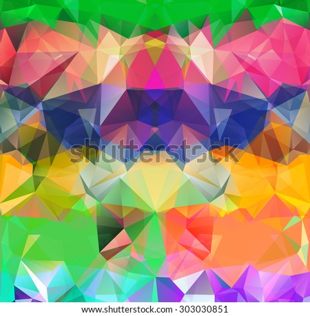 Abstract geometric background version. Multicolored triangles. Beautiful inscription. Triangle background with bright lines. Pattern of crystal geometric shapes. Mosaic banner green. Raster version - stock photo