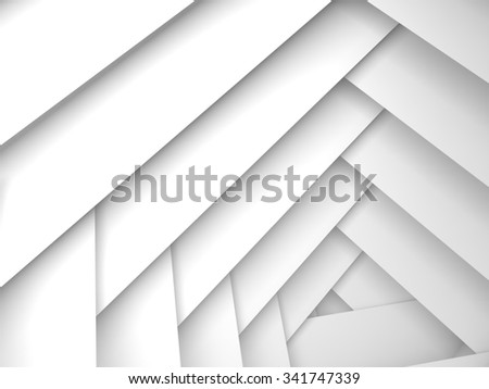 Abstract geometric background, white frame layers pattern, 3d illustration with soft shadows