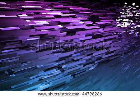 Abstract Geometric Background with a 3d Data Art - stock photo