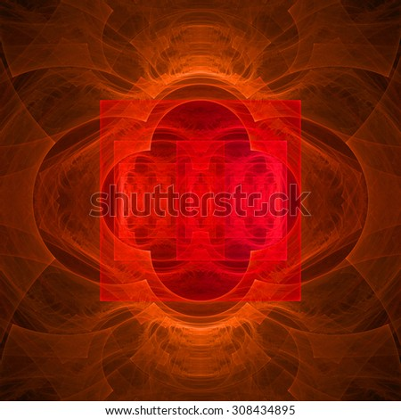 Abstract geometric background with a detailed geometric structures made from various lines, arches, squares, circles, all in shining red and orange